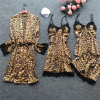 4 Pieces Women Pajamas Sets Satin Sleepwear Silk Nightwear Pyjama Spaghetti Strap Leopard Print Pijama With Chest Pads