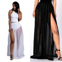 2019 Womens Beach Mesh Long Skirts Bikini Cover Up Swimwear Transparent Split Long Maxi Skirts Plus Size S-2XL