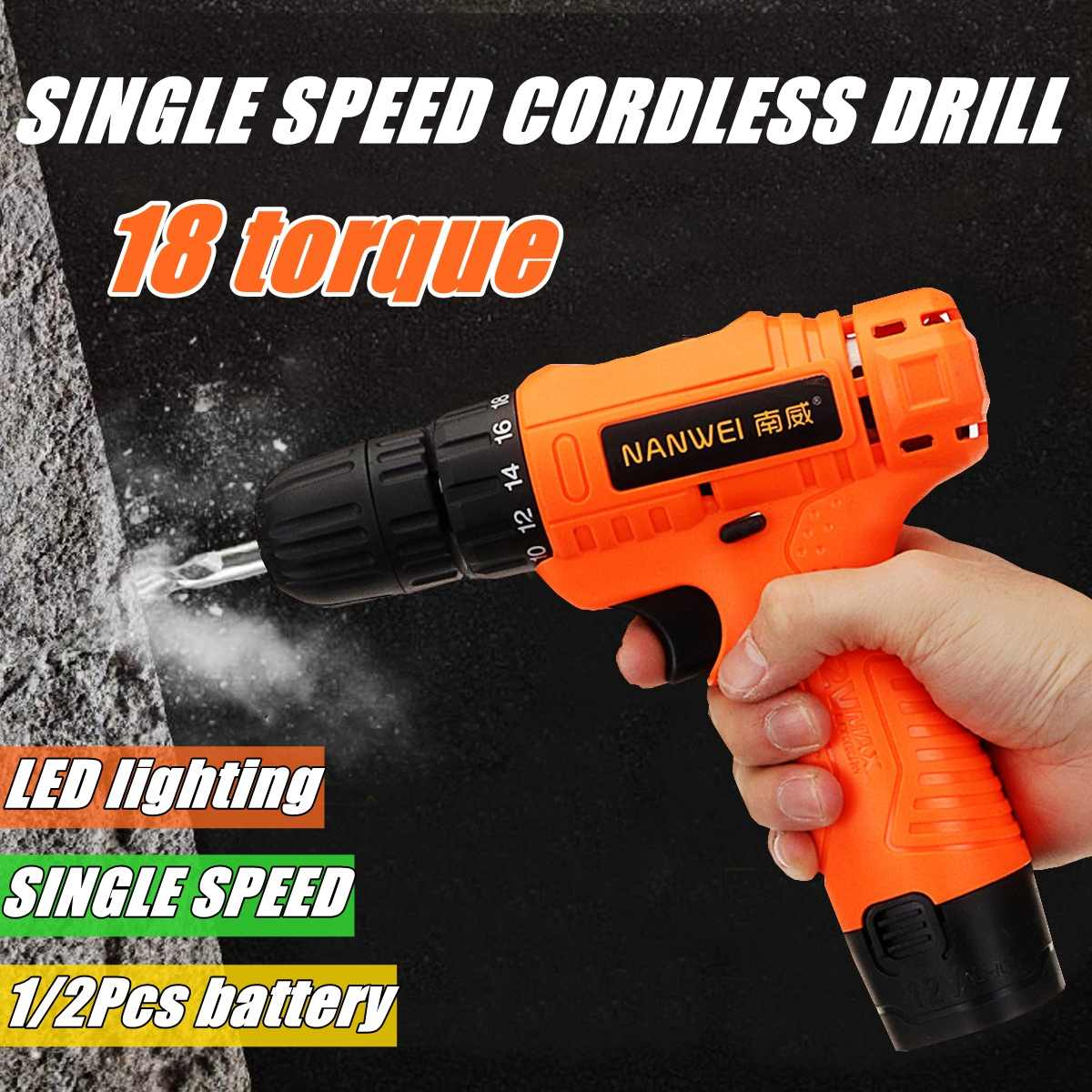 12V 18 Torque Electric Cordless Drill LED Lighting Rechargable 1/2 Li-Ion Battery Single Speed Power Drills12V 18 Torque Electric Cordless Drill LED Lighting Rechargable 1/2 Li-Ion Battery Single Speed Power Drills