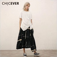 CHICEVER Spring Casual Two Piece Set O Neck Short Sleeve Top Clothing With Hit Color Print Skirt Women Suit 2019 Fashion New