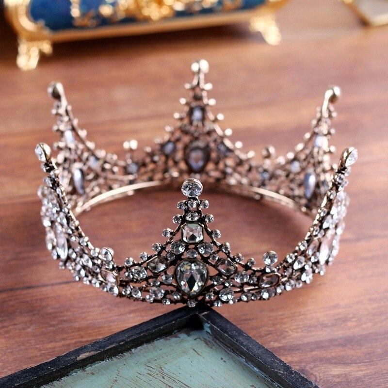 Round Large Queen Tiara Crown Rhinestone Baroque Vintage Headdress Hair Jewelry Costume Women Headwear Wedding Bridal Headpiece