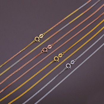 15.7INCH Solid 18K Yellow Gold Necklace 1.2mm Wheat Link Chain Necklace Au750 4