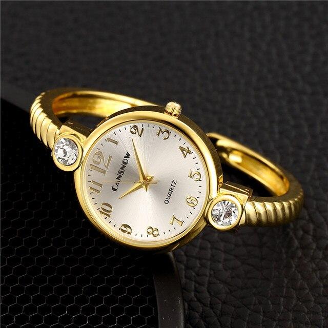 Fashion Gold Silver Bracelet Bangle Women Watches Luxury Crystal Quartz Ladies W
