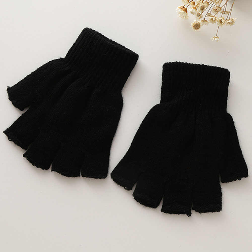 للجنسين الدافئة الرجال النساء الصلبة الشتاء الرياضة أصابع بسط مطاطا محبوك نصف اصبع قفازات الحرارية