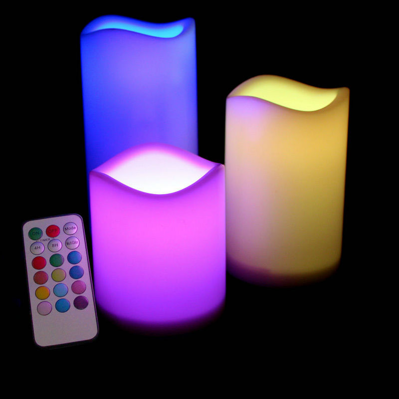 set of 3pcs flameless LED Candle Pillar lamp w/18key Remote controller 4H/8H Timer Wedding Home Bar table Decor-Color changing bison rolling grill