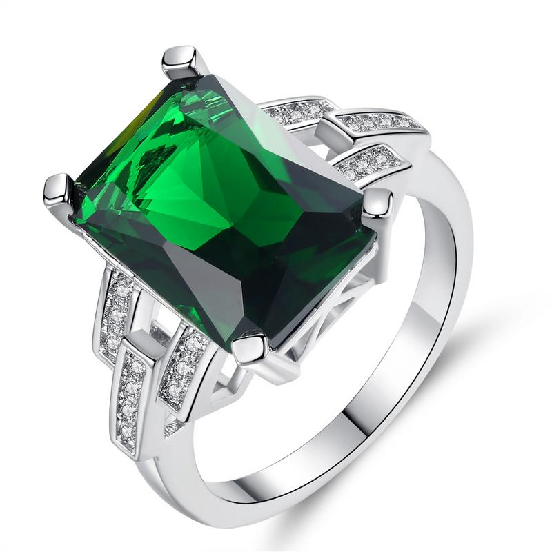 New Design 2019 Jewelry Square Emerald Ring For Women High Quality Emerald Rings Party Rings Size 6-9