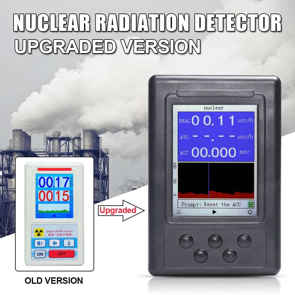 1Pcs Upgrade Geiger Counter Nuclear Radiation Detector Personal Dosimeter Marble Tester X ray Display Screen Radiation