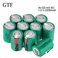 GTF 1/2/6/10/20pcs 4/5 Sub C SC Ni-Cd 2200mAh 1.2V Rechargeable Battery Flat Top For Shaves And Emergency Lighting Batteria SC