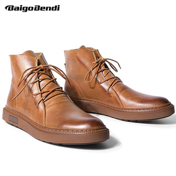 Winter Shoes Men Real Leather Lace Up Boots Man Casual Boys Trendy Good For All Season
