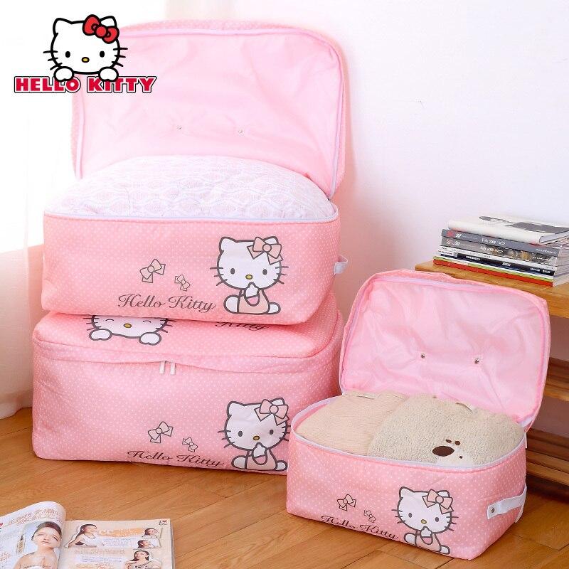Hello Kitty vêtements jouets rangement boîte Kawaii accueil garde-manger organisateur ouatine couette cadeau boîtes placard garde-robe sceau Pack fille
