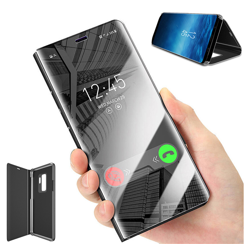 For Samsung A6 2018 Clear View Smart Mirror Phone Case For Galaxy A3 A5 A7 2017 Flip Stand Leather Cover For A 9 A8 A9 Lite C8 in Flip Cases from Cellphones Telecommunications