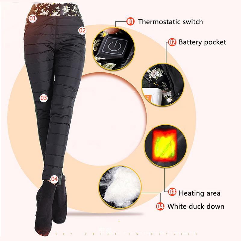 Hiver chauffage extérieur fièvre Imitation bas pantalon pantalon taille haute Leggings pantalon Slim épaissi USB charge pantalons chauffants
