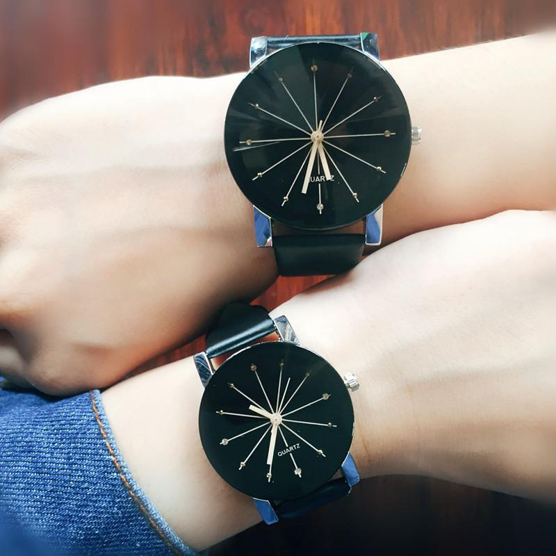 LinTimes 2019 New Lovers Leisure Male Female Wristwatches Convex Meridian Belt Quartz Watch For Valentien's Day