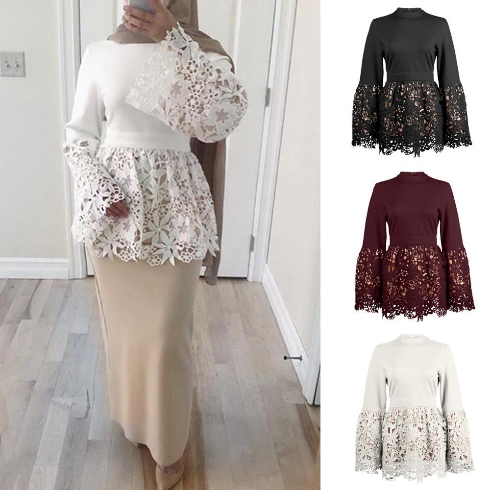 2019 Women Flower Lace Tops Patchwork Muslim Islamic Arab Tunic Bell Sleeve Stand Collar Fashion Dubai Spring Autumn Long Sleeve