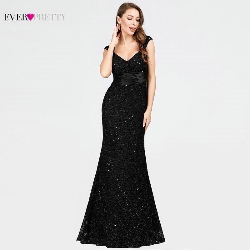 Lace Sequined Evening Dresses Black Ever Pretty EP07919BK V Neck Mermaid Sleeveless Sexy Beaded Sparkle Elegant