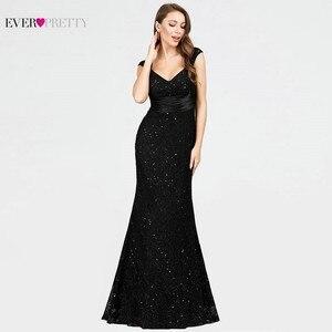 Image 3 - Черное вечернее платье Ever Pretty EP07919BK, с v образным вырезом, без рукавов, с блестками