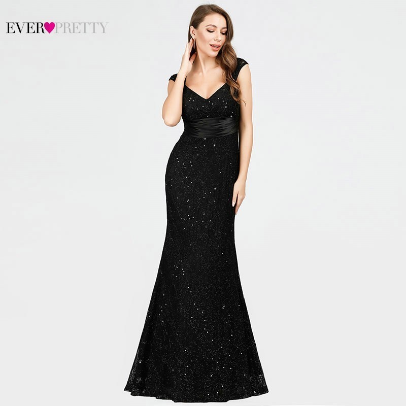 Lace Sequined   Evening     Dresses   Black Ever Pretty EP07919BK V-Neck Mermaid Sleeveless Sexy Beaded Sparkle Elegant Party   Dresses