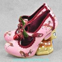 Дизайнерские женские туфли лодочки с оленем на высоком каблуке; милые туфли mary jane на платформе и высоком каблуке с рисунком; женские весенне
