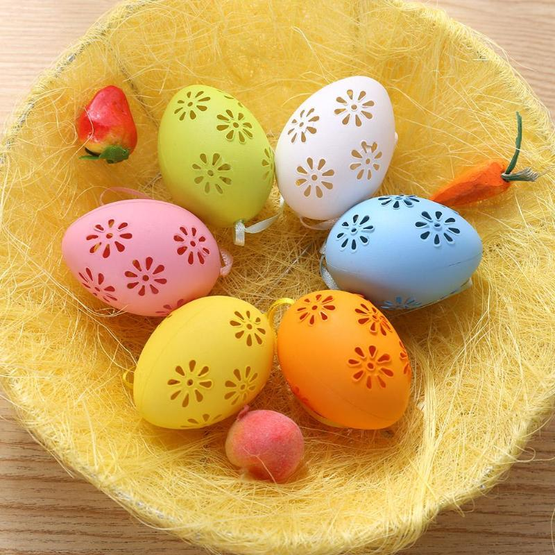 6pcs Easter Decorations Plastic Egg Hollow Out DIY Painted Eggs Pendant Hand Painted Ornament Children Creative Gift Craft Toys