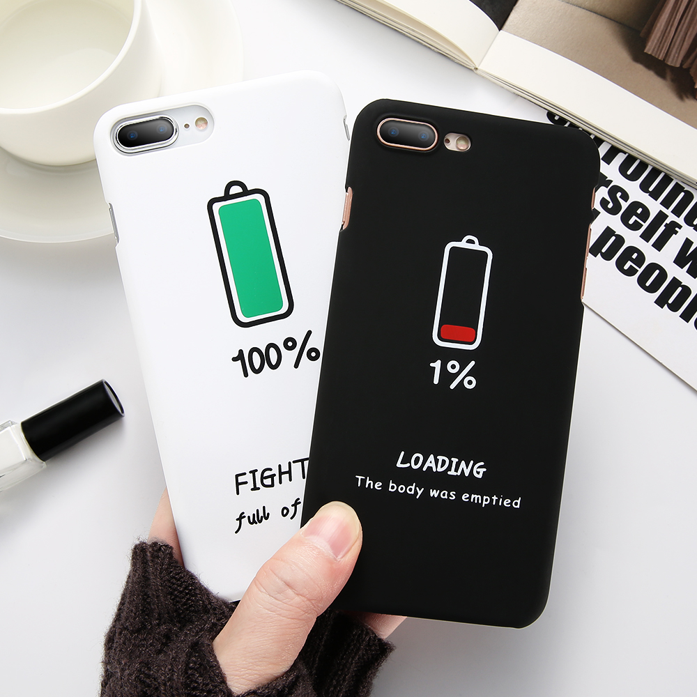 KISSCASE Simple Mobile Phone Case For iPhone 8 8 Plus X Cases Fashion Battery Hard PC Cover For iPhone 6 6S Plus Coque Fundas in Half wrapped Cases from Cellphones Telecommunications