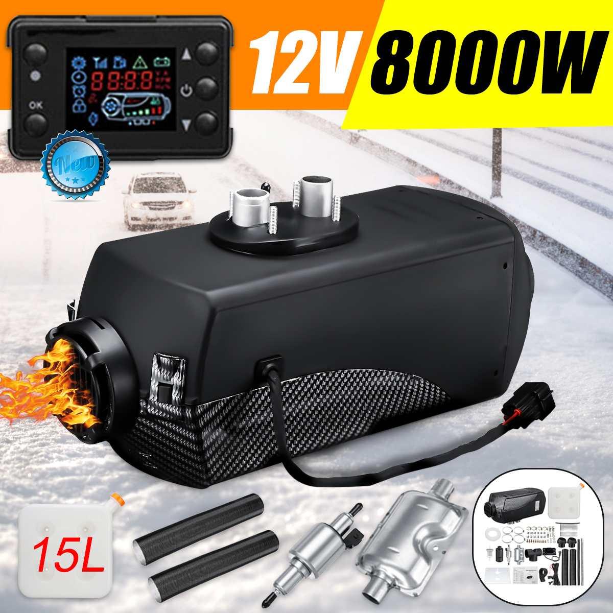 12V 8KW voiture Diesels Air Parking chauffage voiture chauffage LCD télécommande moniteur interrupteur + silencieux pour camions Bus remorque chauffage