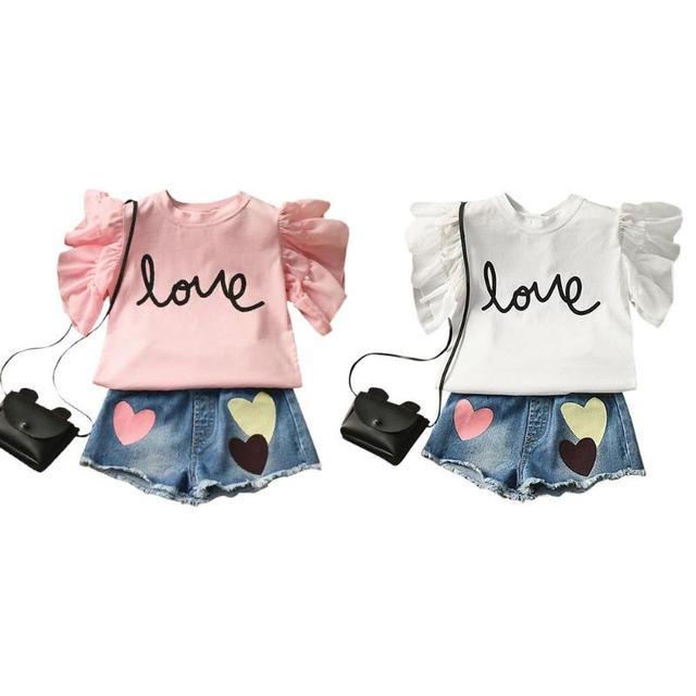c4b0f1368 2 pcs Crianças Menina Impressão T shirt + Shorts Calças Terno Roupas de  Verão Criança Meninas Agasalho meninas S