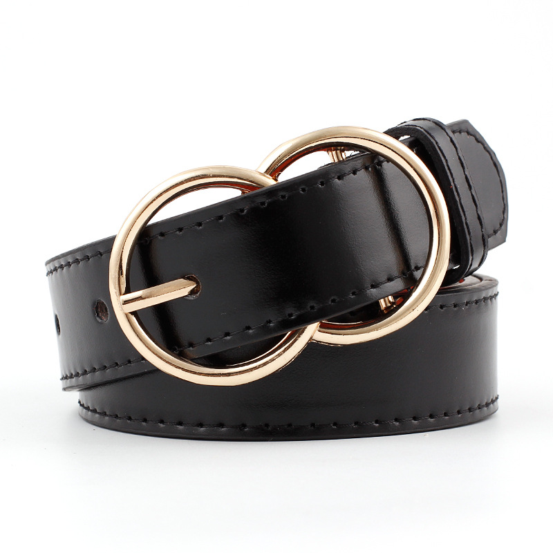 2019 Fashion Designer Double Circle Metal Pink Buckles   Belt   for Women Shiney PU Leather Waist   Belts   Female Straps Waistband New
