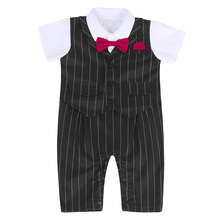 AmzBarley Newborn baby boys clothes baby Rompers infant Bow tie gentlemen suit formal onesie Birthday party outfits 3M-12M boys