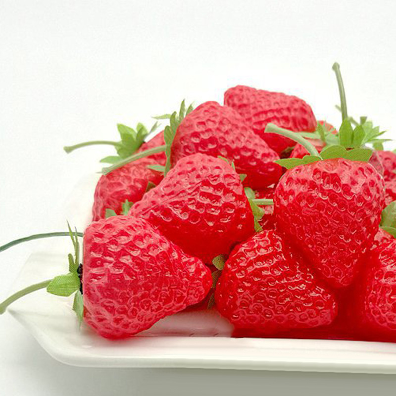 20PCS Plastic Artificial Strawberry Fruit Red Fake Fruit Display For Wedding Party Ornament Kitchen Home Foods Decor
