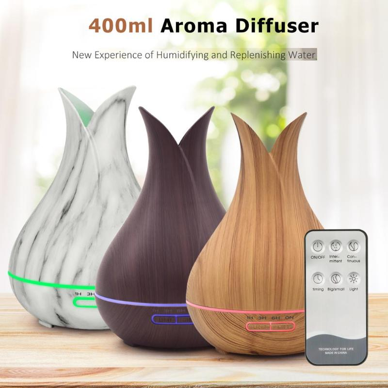 400ml 7 color USB Electric Aroma Air Diffuser Wood Ultrasonic Air Humidifier Essential Oil Aromatherapy for Home Office