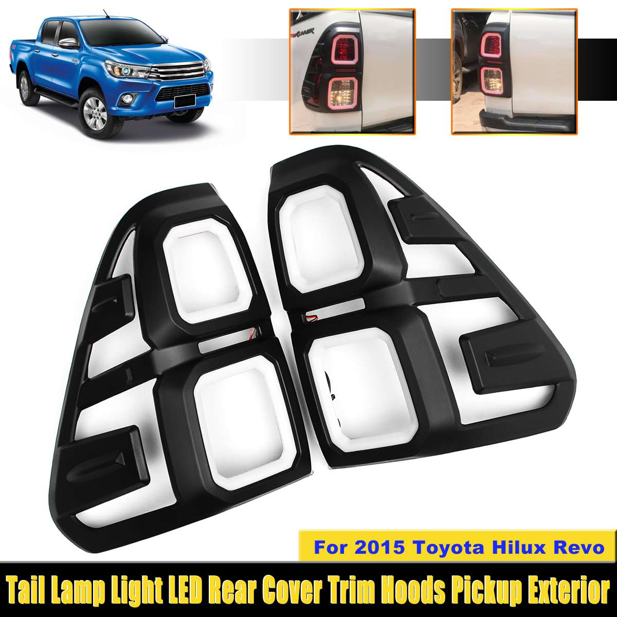 LED Rear Tail Lamp Lights Cover For Toyota Hilux Revo 2015 LED Lamp Hoods LED Tail Lights Trim Hoods Pickup Auto Accessories diff drop kit for hilux