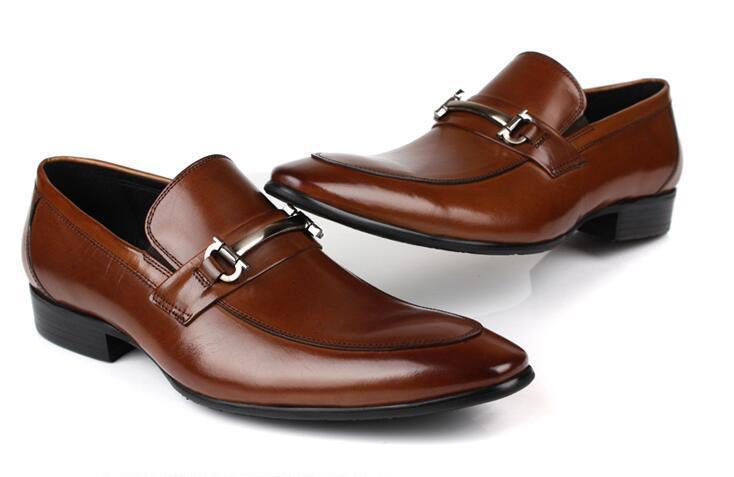 De Los Hombres Vaca Tacón Formal Zapatos Estilo Plano Tamaño Negocios Euro 1 45 Cuero Vestir Británico 2 RHfnvqB