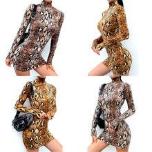 Hirigin Brand Sexy Dress Vestidos 2019 New Style Womens Animal Snake Skin Print Bodycon Tunic Dress Stretch High Neck Mini Dress