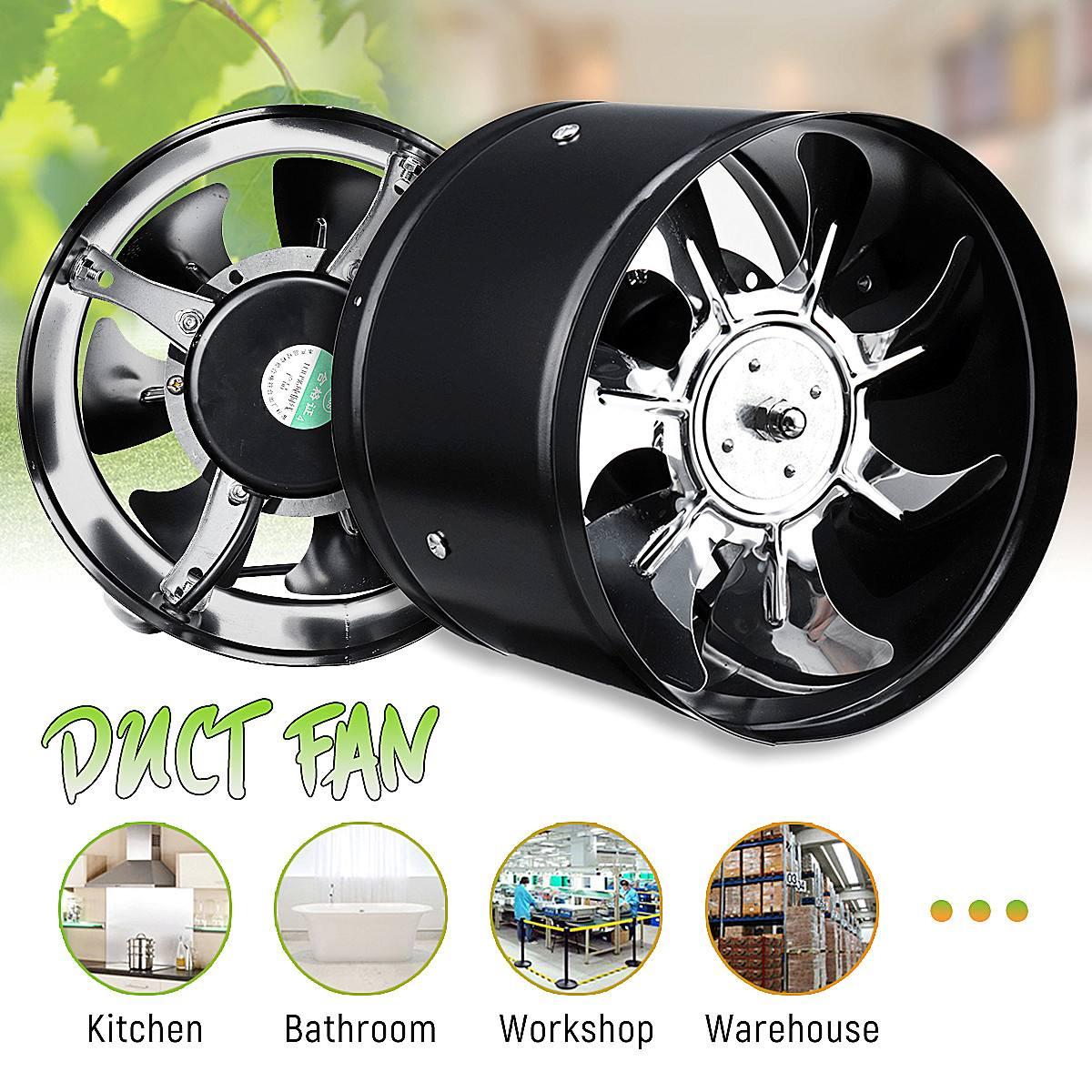 80W Duct Ceiling Air Ventilation Fan 8 Inch Pipe Exhaust Fan Inline Booster 200mm Window Exhauster Toilet Kitchen Exhaustfan