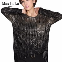 Max LuLu 2019 Fashion Korean Ladies Knitted Clothes Womens Sexy Holes Sweater Casual Jumper Spring Tops Woman Pullover Gold Ropa