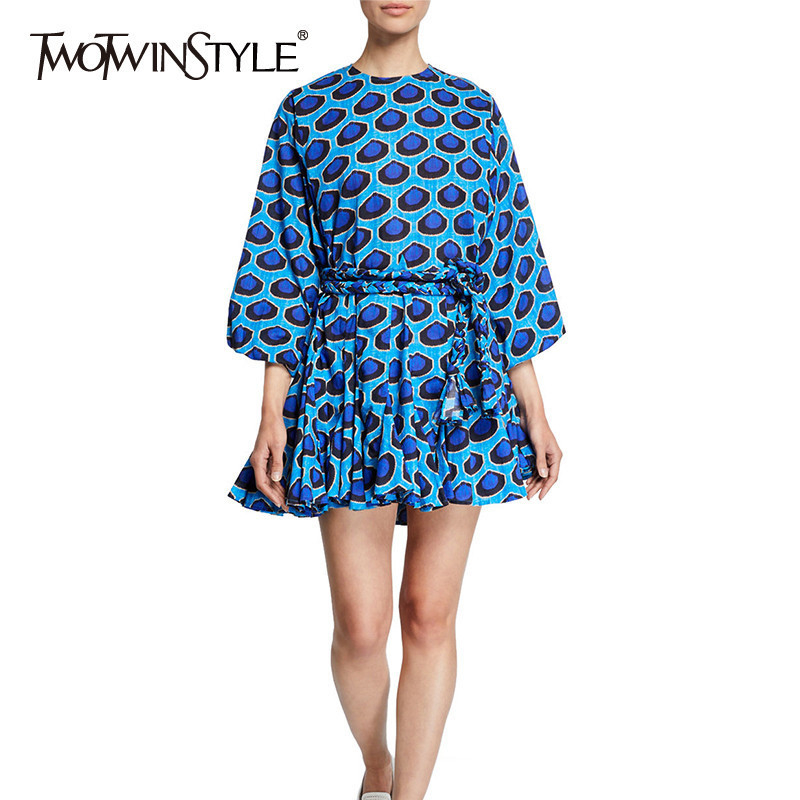 TWOTWINSTYLE Casual Print Dress For Women O Neck Lantern Sleeve Lace Up Pleated Dresses Female Spring