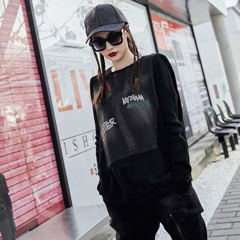 Max LuLu Famous Brand Ladies Punk Knitted Tops Tee Shirts Womens Denim Long Sleeve T-shirt Vintage Ladies Harajuku Winter Tshirt Multan