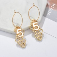 Women Hexagon Number 5 Drop Earrings Cute And Romantic Plants Earrings Handmade Individuality American Wedding Jewelry Earings