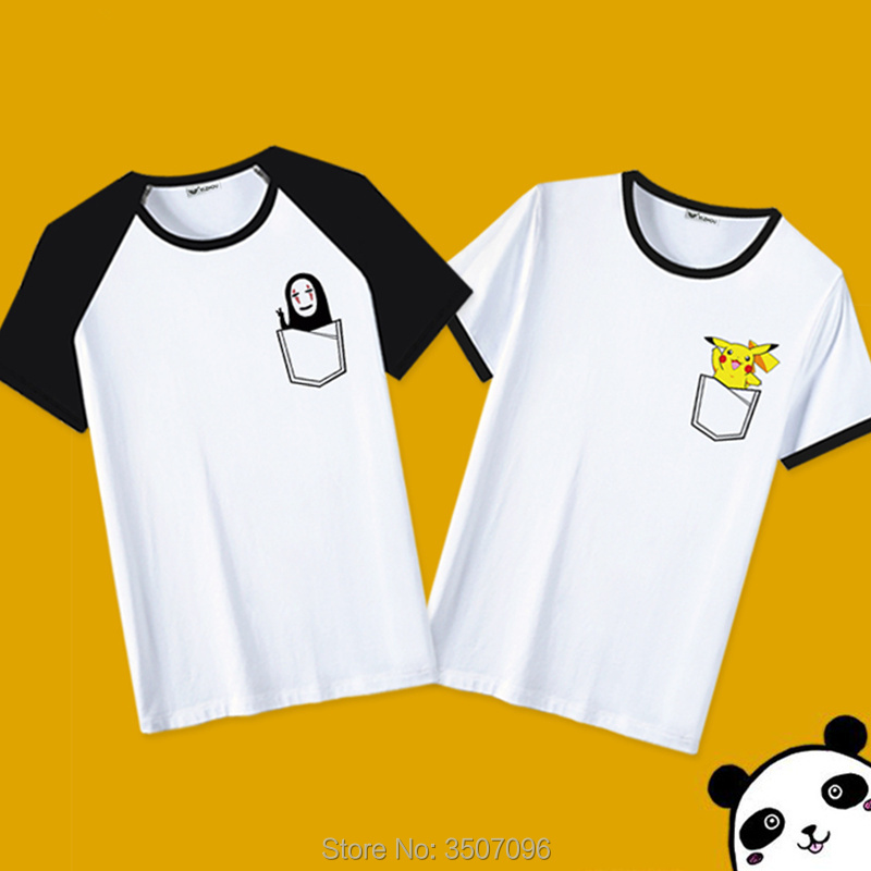 Japanese Anime Totoro Patchwork T shirt 2019 Harajuku Casual Women Shirts Print Pocket Pikachu No Face Femme Couple Tee