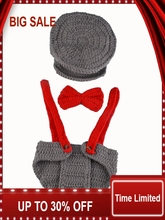 NEW Crochet Baby Boy Gentleman Set Hat Bow Tie and Suspenders Knitted Crochet Infant Baby Photogra phy Props 1set contrast crochet bow tie neck pullover