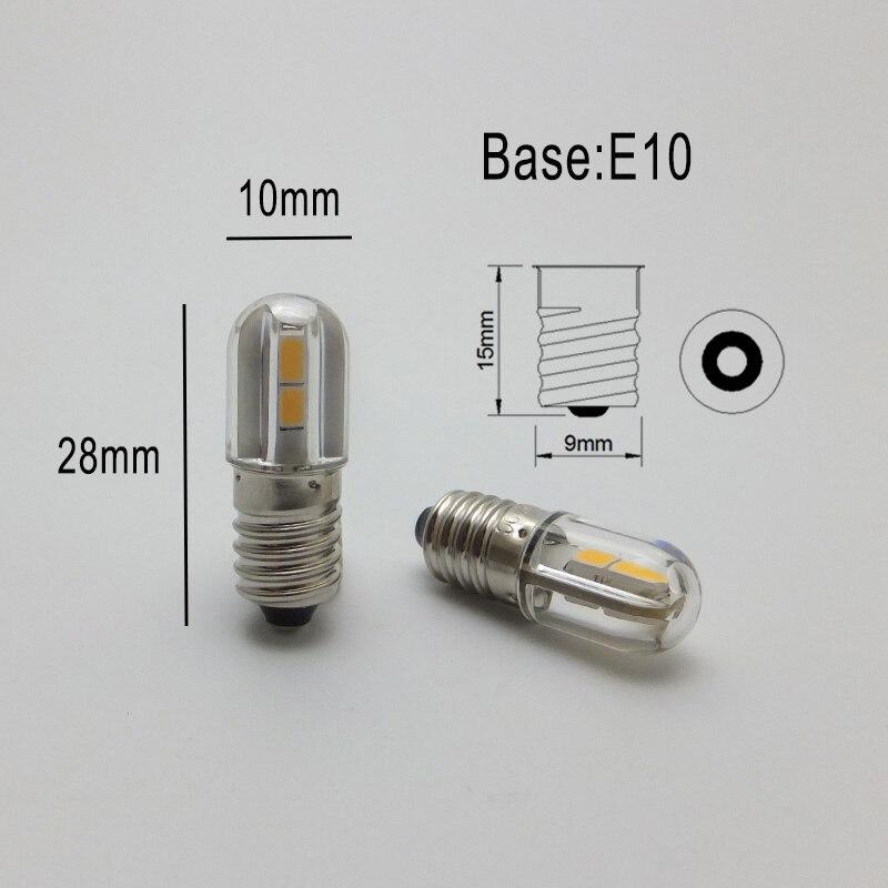 AMYWNTER E10 Ba9s T4w 1W LED Indicator Light Bulb 6V 12V 24V 48V 60V 1W 2835