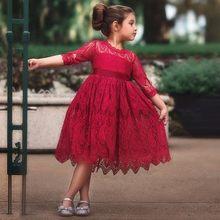 91bbc8de4 طفل الفتيات اللباس 2018 جديد الربيع والخريف الاطفال الملابس الدانتيل الذهبي  موجة الأميرة فساتين قطنية ملابس الأطفال