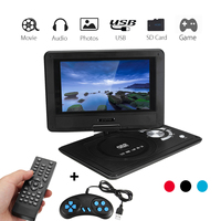 9.8 Inch Portable Rechargeable Car DVD Player Game Video Control 270 Degree Screen With Game FM Radio TV AV Monitor Card Reader