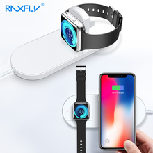 RAXFLY 2 in 1 Qi Fast Wireless Charger For iPhone XS Max XR X 8 Plus Apple watch 3 Samsung  S7 S8 S9