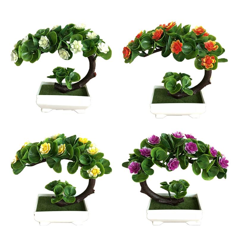Smart New Ganoderma Tree Lotus Pine Tree Simulation Plant Flower Bonsai Set Small Potted Green Plant Home Decor Table Top Decoration High Quality Materials Festive & Party Supplies