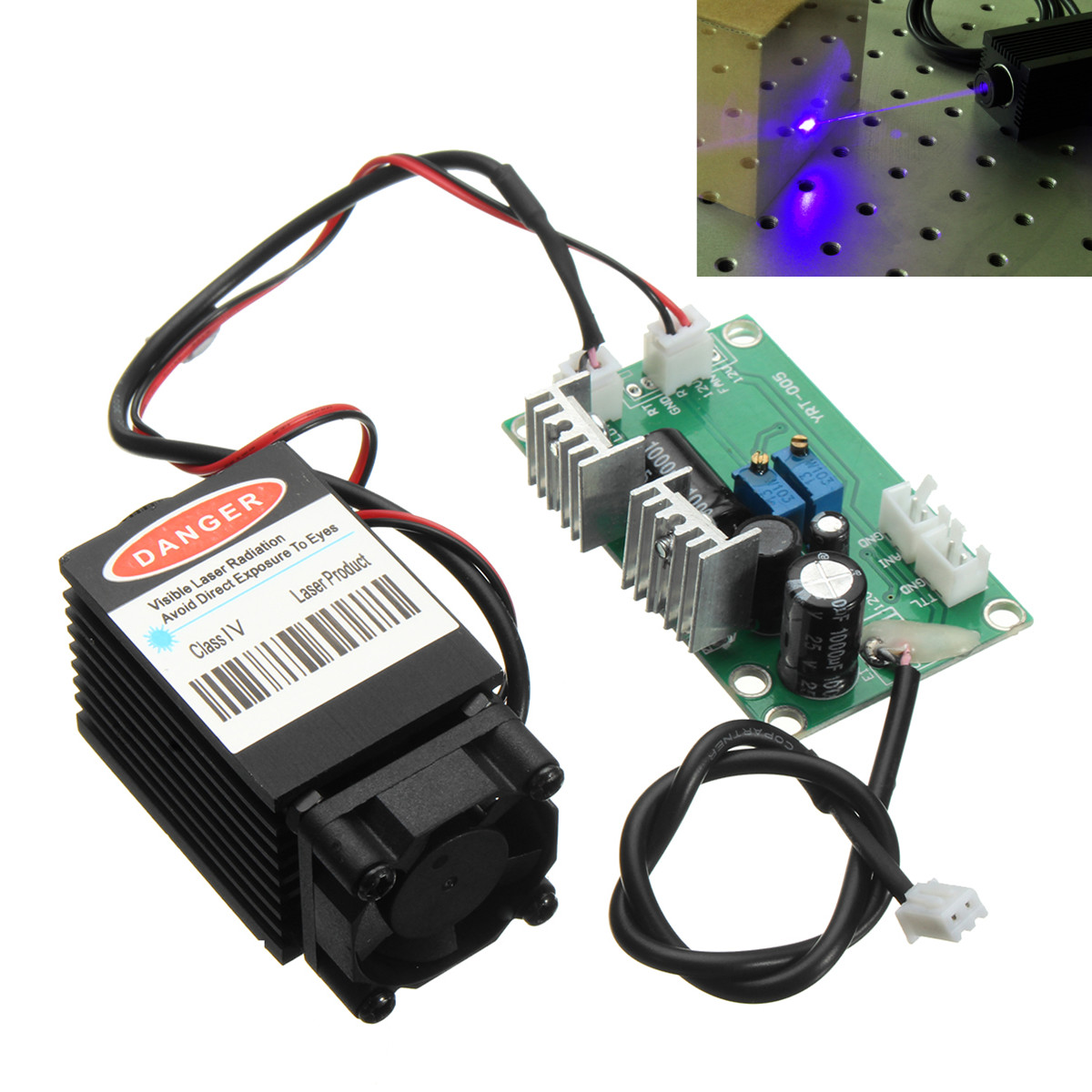 Focusable high power 1.6W 450nm blue laser module with TTL 12V input Wood carving DIY Laser engraver accessories цена