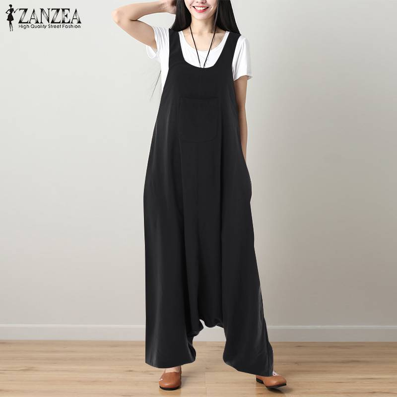 S 5XL ZANZEA Vintage Drop-Crotch Pants 2019 Women Casual Solid Strappy Cotton Linen Loose Harem Overalls Long   Jumpsuits   Rompers