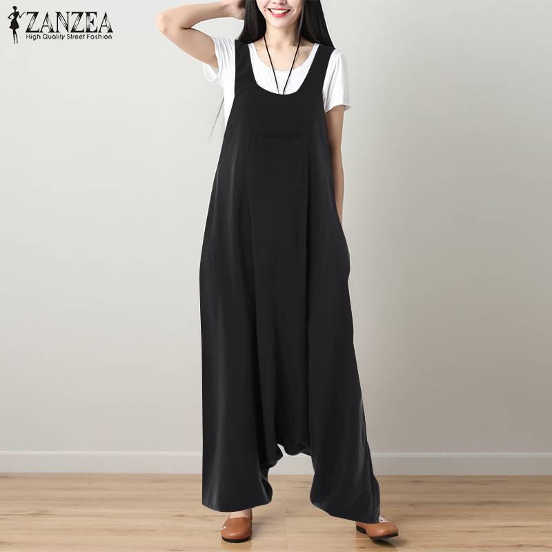 S 5XL ZANZEA Vintage Drop-Crotch Pants 2019 Women Casual Solid Strappy Cotton Linen Loose Harem Overalls Long Jumpsuits Rompers
