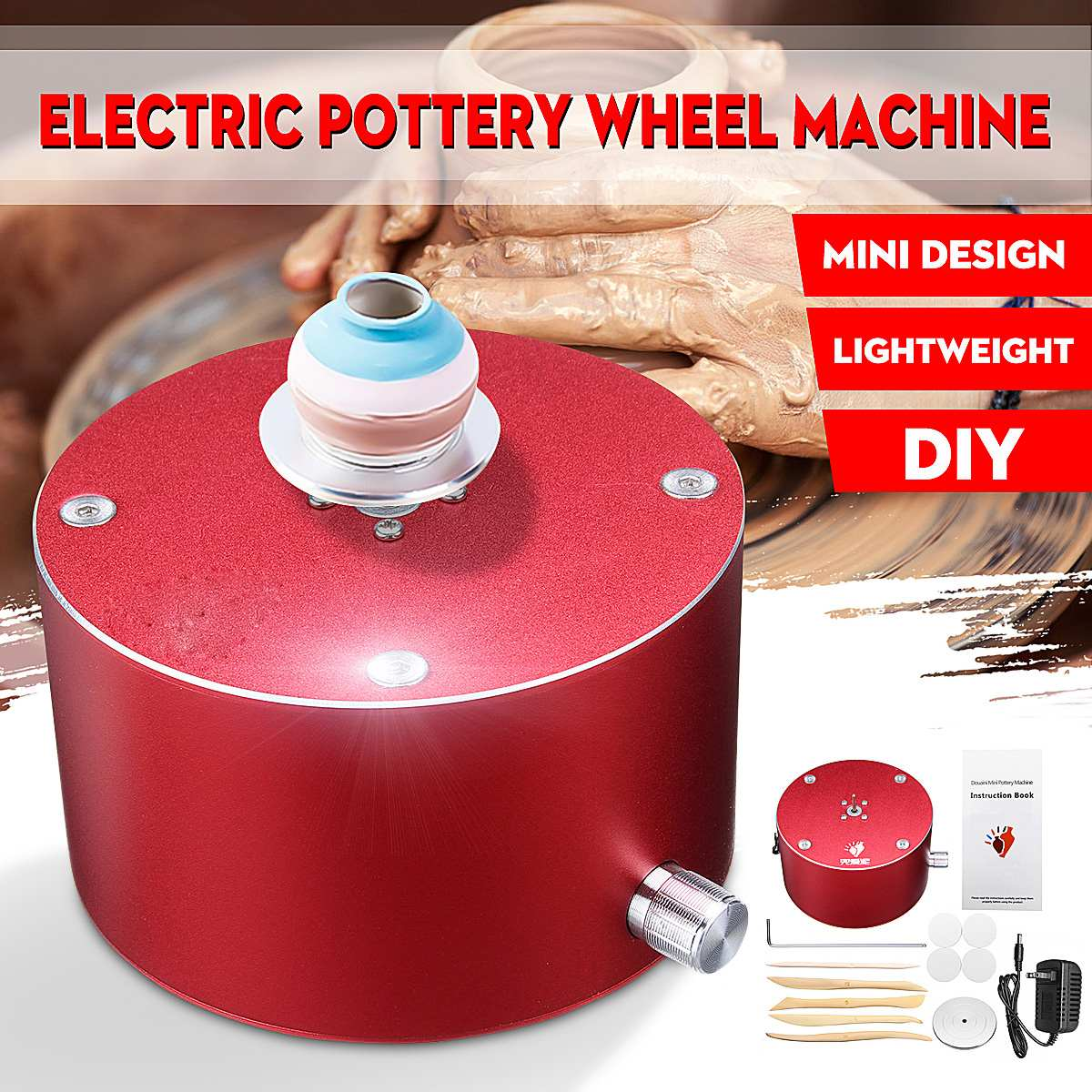 12V Turning Electric Pottery Wheel DIY Ceramic Machine Turntable Fingertip Mini Pottery Wheel Clay Pottery Making Tool Kit