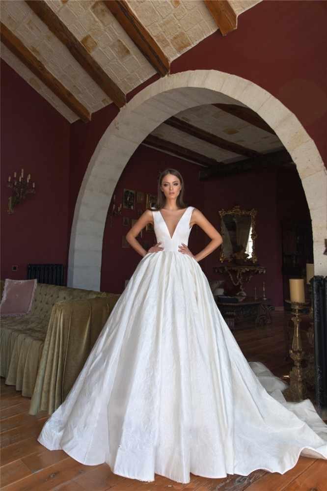 ... vivian s bridal 2018 retro satin face oversize bow bridal ball gown  sexy deep-v neck c6c0e99063ba